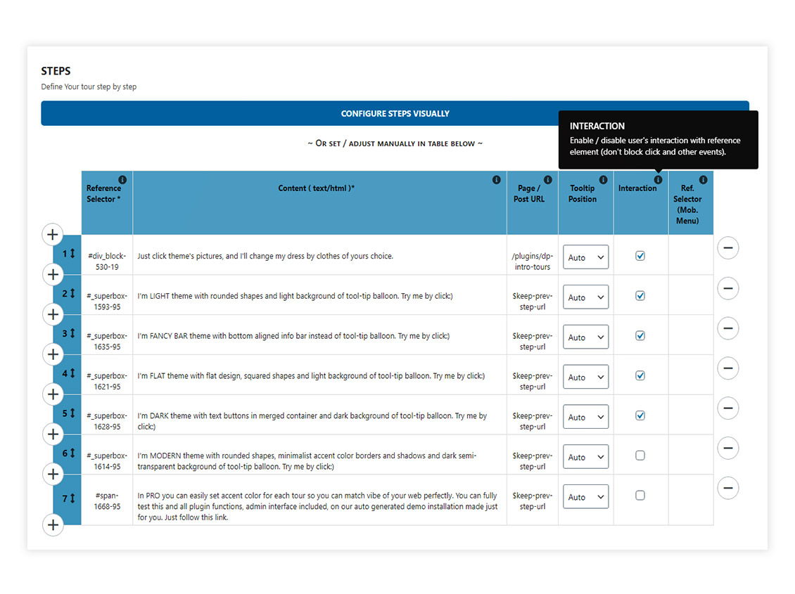 Tour admin options - steps definition (DP Intro Tours PRO)