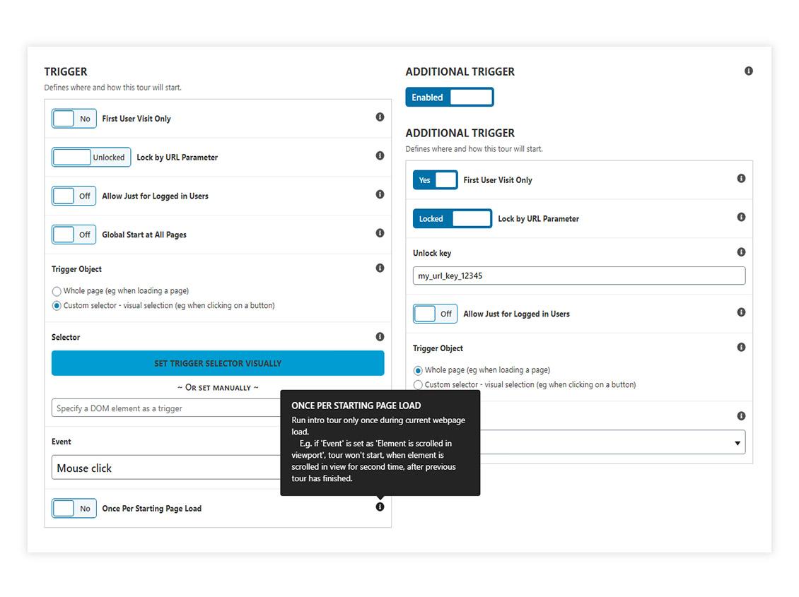 Tour admin options - triggers (DP Intro Tours PRO)